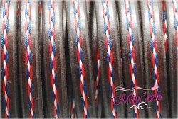 Cabedal Extra Grosso Cosido 10x6mm TRICOLOR