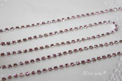 Corrente de Metal c/ Strass 2x2mm ROSA CLARO