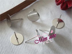 Pin Earrings with basis 8mm for bonding SILVER (pair)