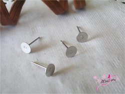 Pin Earrings with basis 6mm for bonding SILVER (pair)