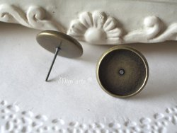 Pair Earrings with Edge (basis with 12mm) OLD GOLD