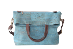 Handbag with Leather Handle Will Paste - LIGHT BLUE