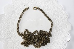 Chain with oval links 4x3mm BRONZE - Includes clasp carabiner (unit)