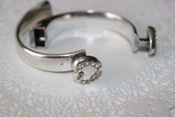 Half Bracelet Extra Thick - Heart with Strass 10x5mm SILVER (unit)