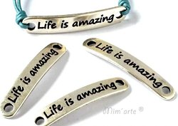 "Conector 38x6,5mm ""Life is amazing"" PRATA (unidade)"