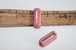 Porcelain Beads hole 14x3mm ROSE (unit)