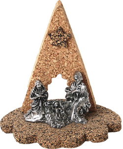 Nativity Scenes in Cork with Tin Alloy 6,5x9,3x4cm